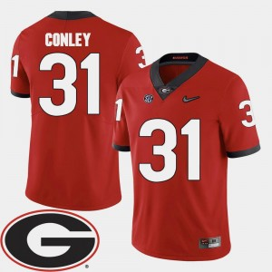 Chris Conley UGA Jersey 2018 SEC Patch College Football Red #31 Men's 384852-711