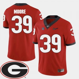 2018 SEC Patch Corey Moore UGA Jersey Red #39 For Men's College Football 227531-158