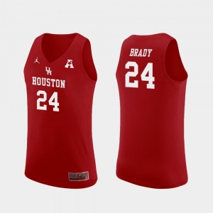 Breaon Brady Houston Jersey Replica #24 College Basketball Red For Men's 144643-640