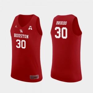 Red Caleb Broodo Houston Jersey Replica #30 For Men College Basketball 716406-357