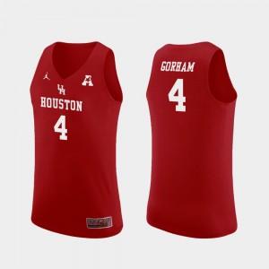 Men Red Replica College Basketball #4 Justin Gorham Houston Jersey 220839-543