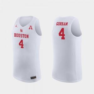 For Men College Basketball Replica #4 White Justin Gorham Houston Jersey 622674-542
