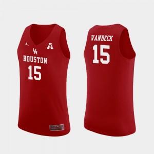 Replica College Basketball #15 Mens Red Neil VanBeck Houston Jersey 975135-679