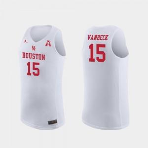 Replica For Men's College Basketball #15 White Neil VanBeck Houston Jersey 583173-564