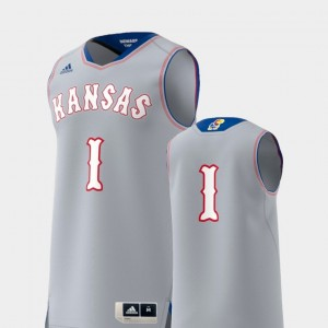 Gray Basketball Swingman KU Jersey College Replica #1 Men 759212-817
