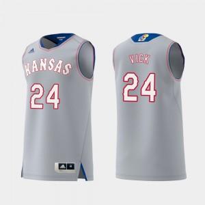 #24 Lagerald Vick KU Jersey Mens Gray Swingman College Basketball Replica 975378-356
