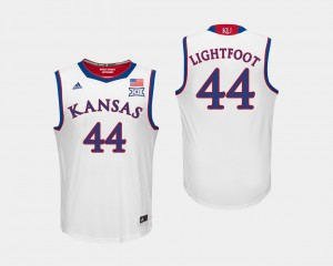 For Men White Mitch Lightfoot KU Jersey #44 College Basketball 711937-375