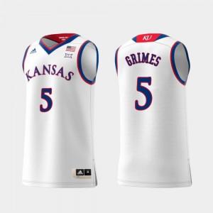 Men's #5 Quentin Grimes KU Jersey Replica Swingman College Basketball White 602270-160