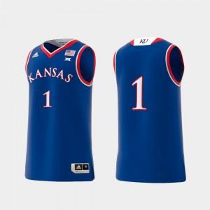 Royal College Replica #1 KU Jersey Basketball Swingman For Men's 608276-677