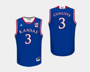 #3 Royal For Men's College Basketball Sam Cunliffe KU Jersey 198381-452