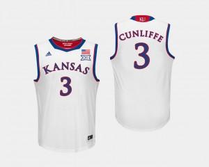 White Mens #3 Sam Cunliffe KU Jersey College Basketball 462986-150