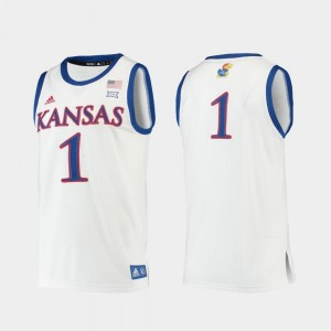 White #1 For Men Replica College Basketball KU Jersey 377387-792