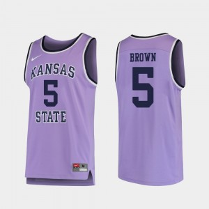 Replica Barry Brown Jr. KSU Jersey Purple Mens College Basketball #5 821236-852