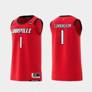 #1 Red Christen Cunningham Louisville Jersey College Basketball Replica For Men 978351-382