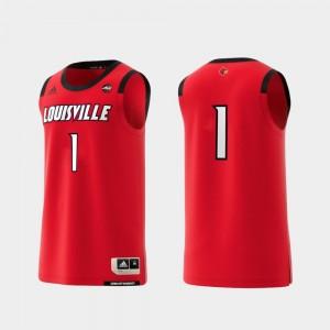 For Men Louisville Jersey Basketball Swingman College Replica #1 Red 172885-187