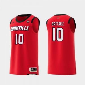 #10 Wyatt Battaile Louisville Jersey College Basketball Men's Red Replica 685977-722