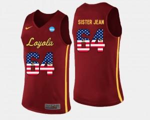 For Men #64 Sister Jean Loyola Jersey Basketball US Flag Fashion Maroon 777881-850