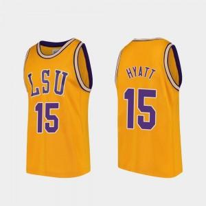 #15 Gold College Basketball Aundre Hyatt LSU Jersey Replica Mens 907459-252