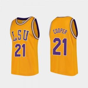 #21 College Basketball Mens Replica Courtese Cooper LSU Jersey Gold 282117-743