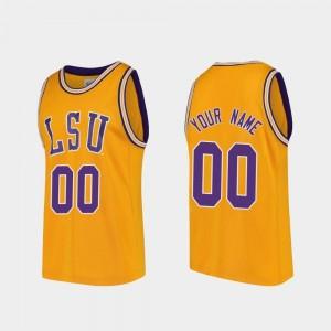 Replica Mens LSU Customized Jersey Gold #00 College Basketball 513652-828