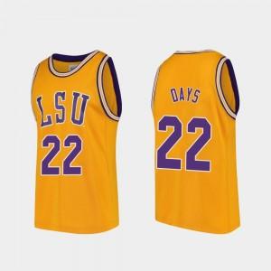 Replica #22 Darius Days LSU Jersey College Basketball Gold Mens 764617-858