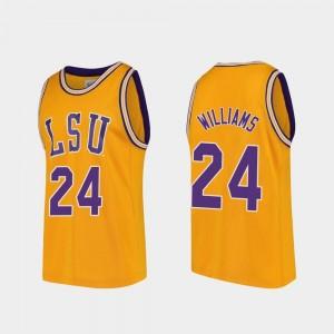 #24 For Men's College Basketball Emmitt Williams LSU Jersey Gold Replica 134531-805