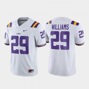 White For Men's Game Football #29 Greedy Williams LSU Jersey 276968-321