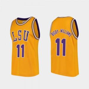 Men Replica Kavell Bigby-Williams LSU Jersey College Basketball Gold #11 954992-443