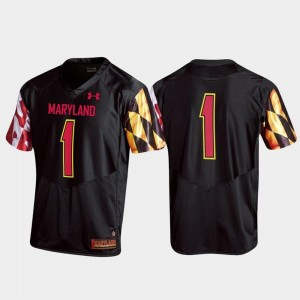 #1 Maryland Jersey Replica Men's College Football Black 584272-500
