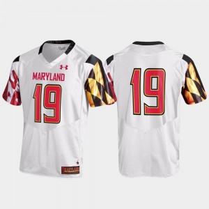 College Football #19 Maryland Jersey White Replica Men 615581-842