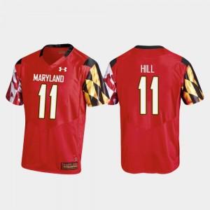 College Football Replica Mens Red #11 Kasim Hill Maryland Jersey 637303-111