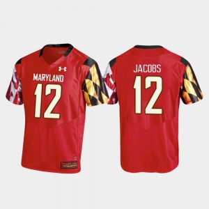 For Men's Replica Red #12 Taivon Jacobs Maryland Jersey College Football 117572-701