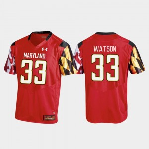 Tre Watson Maryland Jersey Mens College Football Replica #33 Red 649645-199