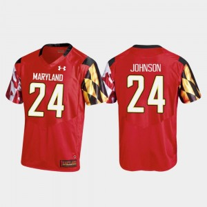 College Football Ty Johnson Maryland Jersey Mens #24 Red Replica 754949-742