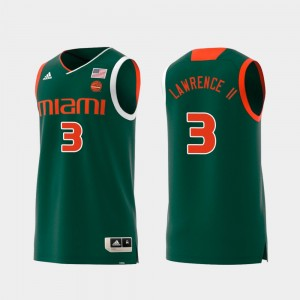 Swingman College Basketball Replica Men #3 Anthony Lawrence II Miami Jersey Green 696249-750