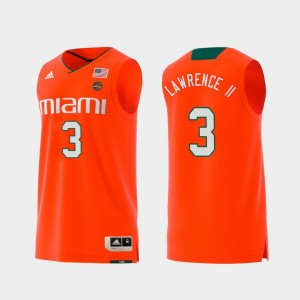 For Men #3 Replica Anthony Lawrence II Miami Jersey Swingman College Basketball Orange 468070-588