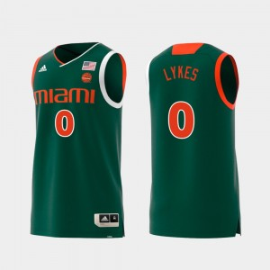 Replica Chris Lykes Miami Jersey Green For Men's #0 Swingman College Basketball 755459-489
