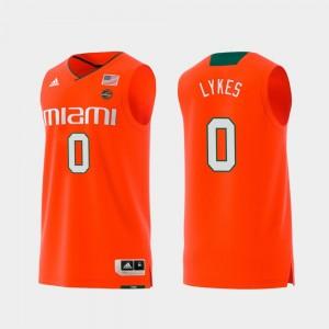 For Men's Chris Lykes Miami Jersey Orange Replica #0 Swingman College Basketball 476515-193