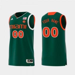 Replica Men Swingman College Basketball #00 Green Miami Custom Jerseys 547382-414