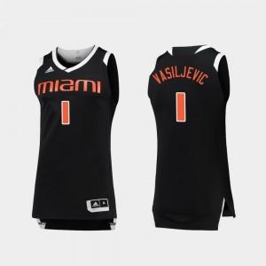 For Men Dejan Vasiljevic Miami Jersey Black White Chase #1 College Basketball 850654-315