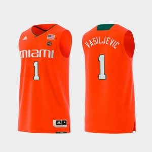 Replica #1 Men's Swingman College Basketball Orange Dejan Vasiljevic Miami Jersey 153764-456
