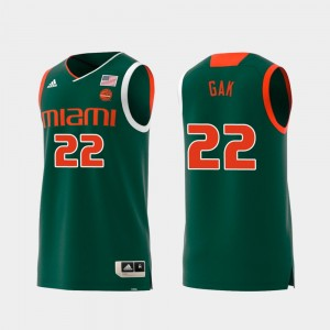 Deng Gak Miami Jersey Replica Green Swingman College Basketball #22 Men 562884-226
