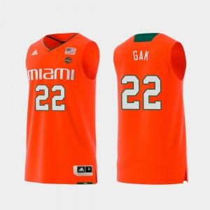 Orange For Men Swingman College Basketball Deng Gak Miami Jersey Replica #22 334211-491