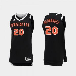 Men's #20 Chase Dewan Hernandez Miami Jersey College Basketball Black White 995900-180