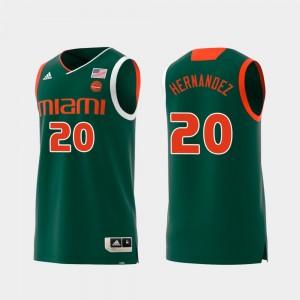 Dewan Hernandez Miami Jersey Green Mens #20 Replica Swingman College Basketball 190867-147