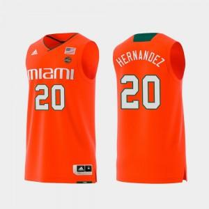 Dewan Hernandez Miami Jersey Swingman College Basketball Replica #20 For Men's Orange 865306-611