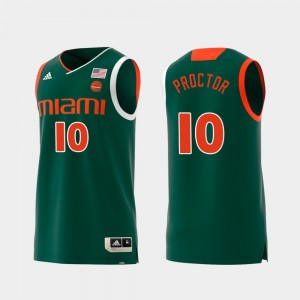 #10 Dominic Proctor Miami Jersey Replica Green Swingman College Basketball Men 867575-514
