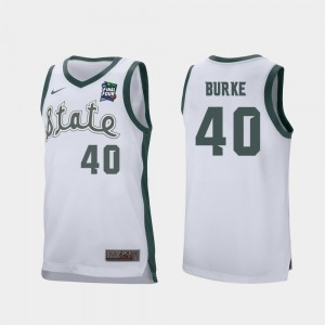 Braden Burke MSU Jersey Mens Retro Performance 2019 Final-Four #40 White 831386-167