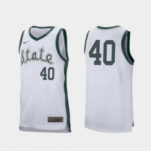 #40 White College Basketball Retro Performance Braden Burke MSU Jersey Mens 255845-530