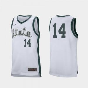 Brock Washington MSU Jersey White Mens #14 Retro Performance College Basketball 907102-727